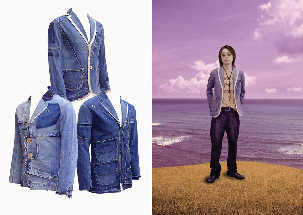 Upcycling Levi's Jeans into homme blazer, on model | Drezier Atelier made for In The Rye second-hand vintage store