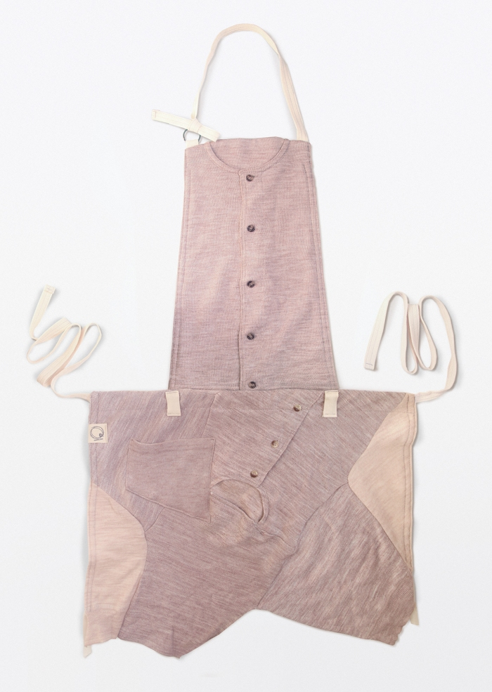 Upcycling baby thermal underwears (brown or camel) into apron as uniform, front side | Drezier Atelier made for Green Baby Garden