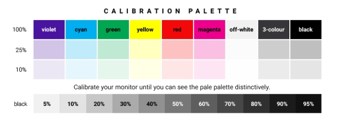 Drezier Atelier | Standard Colour Calibration Bar for customer's monitor calibration