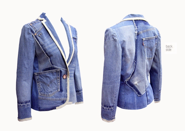 Upcycling Levi's Jeans (sand washed; light indigo) into femme trim blazer, front and back views | Drezier Atelier made for In The Rye second-hand vintage store