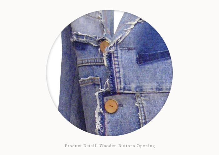 Upcycling Levi's Jeans (sand washed; light indigo) into homme button blazer, detail on woode button | Drezier Atelier made for In The Rye second-hand vintage store