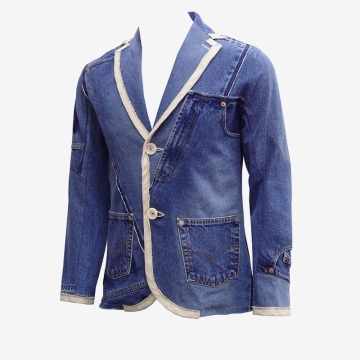Upcycling Levi's Jeans (sand washed; light indigo) into homme trim blazer, feature picture | Drezier Atelier made for In The Rye second-hand vintage store