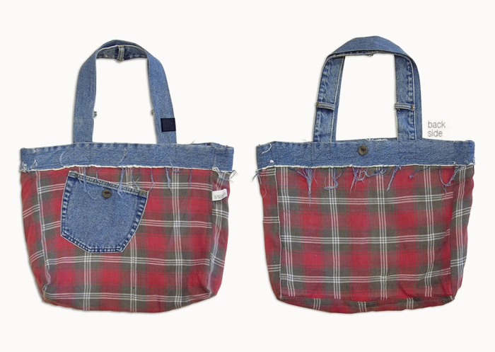 Upcycling Levi's Jeans (minor washed; indigo) into Reversible Tote Bag, reversed side front and back flat | Drezier Atelier made for In The Rye second-hand vintage store