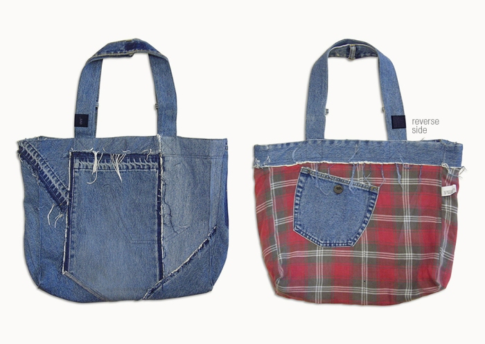 Upcycling Levi's Jeans (minor washed; indigo) into Reversible Tote Bag, outward front and reversed front side | Drezier Atelier made for In The Rye second-hand vintage store