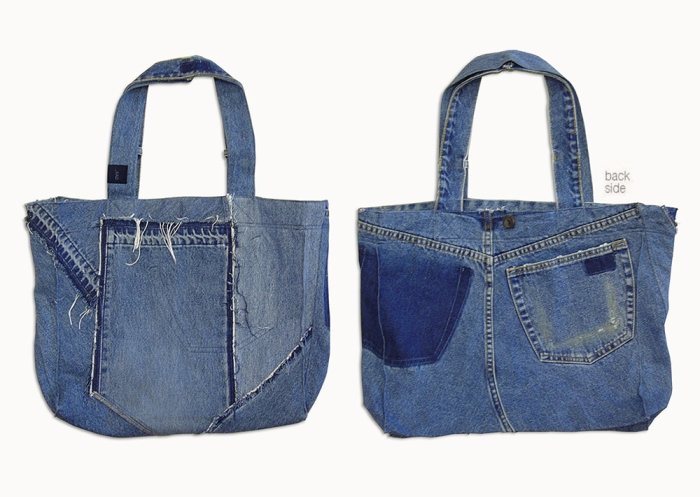 Upcycling Levi's Jeans (minor washed; indigo) into Reversible Tote Bag, outward front and back side | Drezier Atelier made for In The Rye second-hand vintage store
