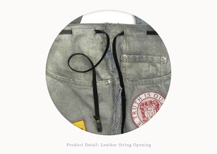 Upcycling Levi's Jeans (sliver painted) into Motif Tote Bag, detail on fastening leather strap | Drezier Atelier made for In The Rye second-hand vintage store